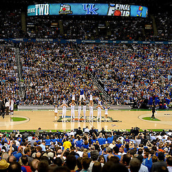 Apr 2, 2012; New Orleans, LA, USA; Kentucky Wildcats cheerleaders and mascot perform during the second half in the finals of the 2012 NCAA men's basketball Final Four against the Kansas Jayhawks at the Mercedes-Benz Superdome. Mandatory Credit: Derick E. Hingle-US PRESSWIRE