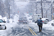 Man in snow storm 48th St. Union City, NJ 2010