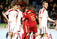 Spain's players celebrate goal during 15th UEFA European Championship Qualifying Round match. November 15,2014.(ALTERPHOTOS/Acero)