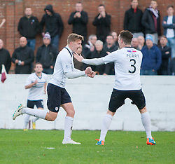 Raith Rovers Paul Watson (4) cele scoring their second goal.<br /> Linlithgow Rose 0 v 2 Raith Rovers, William Hill Scottish Cup Third Round game player today at Prestonfield.