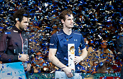 30.10.2016, Stadthalle, Wien, AUT, ATP Tour, Erste Bank Open, Siegerehrung, im Bild v.l. Andy Murray (GBR), Jo Wilfried Tsonga (FRA) // f.l. Jo Wilfried Tsonga of France and Andy Murray of Great Britain during Winner Award Ceremony of Erste Bank Open of ATP Tour at the Stadthalle in Vienna, Austria on 2016/10/30. EXPA Pictures © 2016, PhotoCredit: EXPA/ Sebastian Pucher