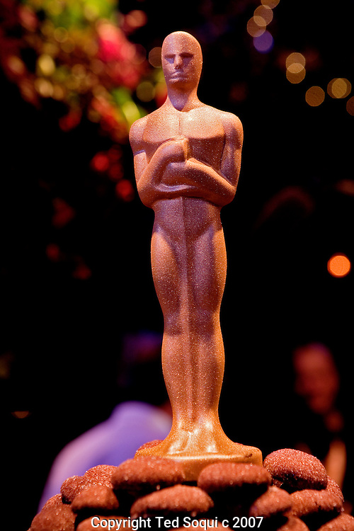 A chocolate Oscar covered with gold dust made by Sherry Yard, Executive Pastry Chef, Wolfgang Puck Worldwide..A preview for the press of the food and decor of this year's Governors Ball, the post 79th Annual Academy Awards celebration hosted by the Board of Governors and the Academy of Motion Picture Art's and Sciences..The ball is held at The Grand Ballroom at the Hollywood and Highland Center. .Master Chef Wolfgang Puck created the ball's menu that will serve 1,650 guest which will include Oscar winners, nominees, presenters, and telecast participants.