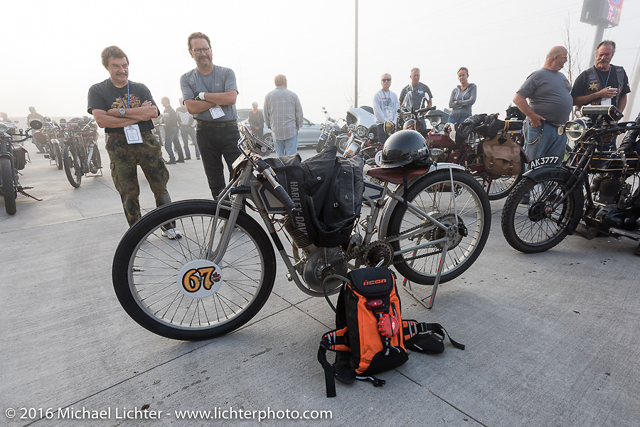 Harley-Davidson Museum Archive Restorer/Conservator Bill Rodencal of Wisconsin with his 1915 Harley-Davidson at the starting line in Dodge City, KS during the Motorcycle Cannonball Race of the Century. Stage-9 Dodge City, KS to Pueblo, CO. USA. Monday September 19, 2016. Photography ©2016 Michael Lichter.