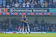 Southend United defender John White (48) scores a goal and celebrates with Southend United midfielder Timothee Dieng (8) 3-1 during the EFL Sky Bet League 1 match between Southend United and Burton Albion at Roots Hall, Southend, England on 22 April 2019.