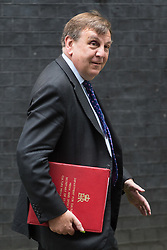 Downing Street, London, June 14th 2016. Sporting a black eye, Culture, Media and Sport Secretary John Whittingdale leaves  10 Downing Street after attending the weekly cabinet meeting.