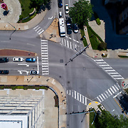 View above intersection of Madison, Belleview, and Roanoke Streets off of Country Club Plaza in Kansas City, Missouri.