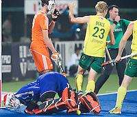 RAIPUR (India) . Daniel Beale (Aus)  has scored 1-0.   . Semi Final Hockey Wold League Final  men . AUSTRALIA v THE NETHERLANDS.  goalie Jaap Stockmann (Ned) is beaten. © Koen Suyk/Treebypictures