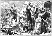 First Anglo-Afghan War 1838-1842: Rescue of British prisoners from the Afghans after the defeat of Akbar Khan, April 1842.  Wood engraving c. 1880