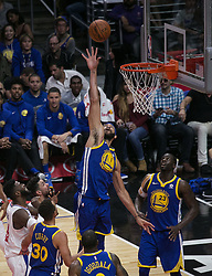 October 30, 2017 - Los Angeles, California, U.S - JaVale McGee #1 of the Golden State Warriors goes for a dunk during their NBA game with the Los Angeles Clippers on Monday October 30, 2017 at the Staples Center in Los Angeles, California. Clippers v Warriors. Clippers lose to Warriors, 141-113. (Credit Image: © Prensa Internacional via ZUMA Wire)