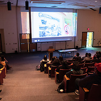 """The audience at the """" Limb, Life and Bread on Mining in New Mexico Exhibit,"""" watches """"Tale of a Toxic Nation,"""" Wednesday, Oct. 17, 2018 at the University of New Mexico-Gallup."""