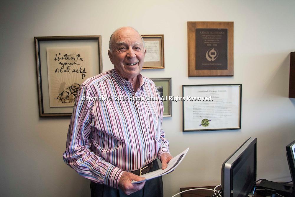 Aaron Eshman (86) partner and financial advisor in Morgan Stanley's Westwood office. (Photo by Ringo Chiu/PHOTOFORMULA.com)