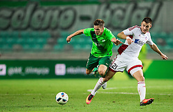 Miha Zajc of NK Olimpija vs Matus Bero of AS Trencin during 1st Leg football match between NK Olimpija Ljubljana (SLO) and FK AS Trenčin (SVK) in Second Qualifying Round of UEFA Champions League 2016/17, on July 13, 2016 in SRC Stozice, Ljubljana, Slovenia. Photo by Vid Ponikvar / Sportida