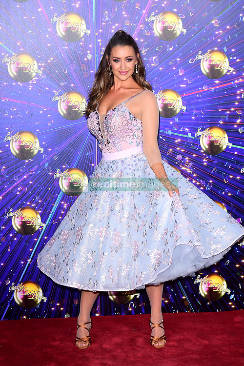 Catherine Tyldesley arriving at the red carpet launch of Strictly Come Dancing 2019, held at BBC TV Centre in London, UK.