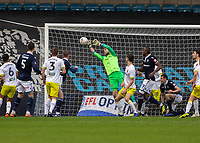 Football - 2018 / 2019 FA Cup - Third Round: Millwall vs. Hull City<br /> <br /> George Long (Hull City) scrambles the ball away from the attempt by Mahlon Romeo (Millwall FC) at The Den.<br /> <br /> COLORSPORT/DANIEL BEARHAM