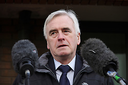 © Licensed to London News Pictures. 24/02/2016. Willesden, UK. Labour shadow chancellor JOHN MCDONNELL MP speaking outside Willesden Magistrates Court in London where 13  members of activist group Plane Stupid appeared charged with trespassing on the north runway at Heathrow Airport whilst protesting against a third runway.   Photo credit: Denis McWilliams/LNP