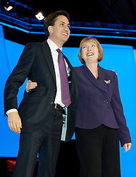 Ed Miliband with Harriet Harman during the Labour Party Conference in Manchester, October 4, 2012. Photo by Elliott Franks / i-Images.