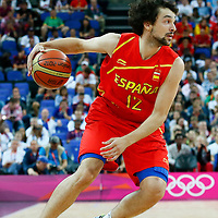 08 August 2012: Spain Sergio Llull dribbles during 66-59 Team Spain victory over Team France, during the men's basketball quarter-finals, at the 02 Arena, in London, Great Britain.