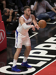 October 12, 2017 - Los Angeles, California, U.S - Blake Griffin #32 of the Los Angeles Clippers puts the ball  into play during their preseason game against the  Sacramento Kings Thursday October 12, 2017 at the Galen  Center in USC in Los Angeles, California. Clippers defeat  Kings, 104-87. (Credit Image: © Prensa Internacional via ZUMA Wire)