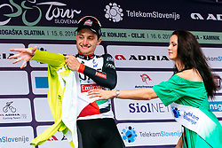 Simone Consonni of UAE and hostess at the ceremony after 1st Stage of 25th Tour de Slovenie 2018 cycling race between Lendava and Murska Sobota (159 km), on June 13, 2018 in  Slovenia. Photo by Matic Klansek Velej / Sportida