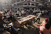 Phnom Penh, Cambodia, Monivong Boulevard morning traffic.