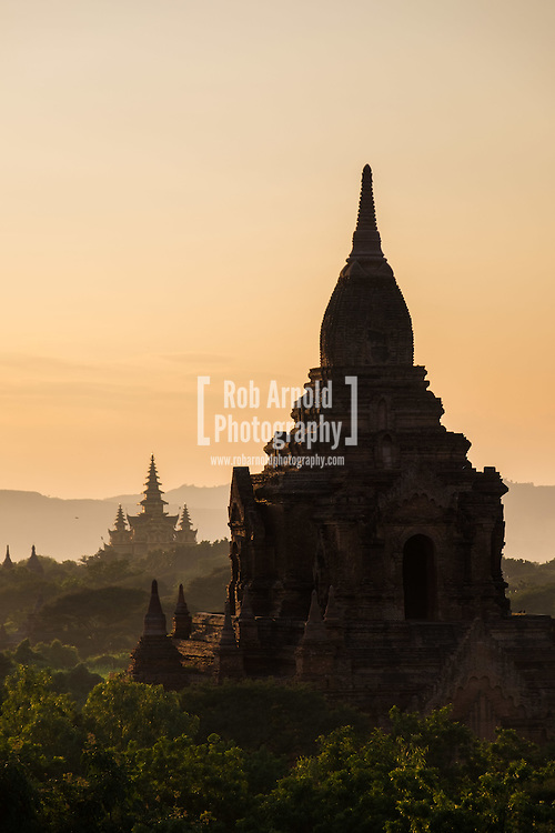 Sunset over the ancient temples of Old Bagan in Myanmar