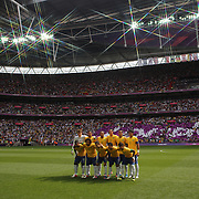 The Brazilian team pose for a team group before  the Brazil V Mexico Gold Medal Men's Football match at Wembley Stadium during the London 2012 Olympic games. London, UK. 11th August 2012. Photo Tim Clayton
