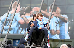 Manchester City fans outside the stadium before the match begins