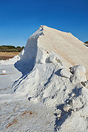 Pictures & images of Pile of sea salt at the salt pans of Trapani, Sicily .<br /> <br /> Visit our SICILY PHOTO COLLECTIONS for more   photos  to download or buy as prints https://funkystock.photoshelter.com/gallery-collection/2b-Pictures-Images-of-Sicily-Photos-of-Sicilian-Historic-Landmark-Sites/C0000qAkj8TXCzro<br /> If you prefer to buy from our ALAMY PHOTO LIBRARY  Collection visit : https://www.alamy.com/portfolio/paul-williams-funkystock/trapanimaslalasaltpans.html