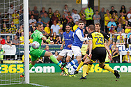 Sheffield Wednesday striker Gary Hooper (14) scores a goal to make the score 1-0 during the EFL Sky Bet Championship match between Burton Albion and Sheffield Wednesday at the Pirelli Stadium, Burton upon Trent, England on 26 August 2017. Photo by Richard Holmes.