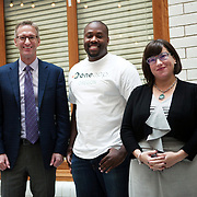 Portland Mayor Ted Wheeler, Commissioner Chloe Eudaly and innovator Tyrone Poole speak at City Hall about a new platform for local renters — One App Oregon — that Poole's company NoAppFee is developing. The goal of One App Oregon is to provide comprehensive rental listings in one place, and to match applicants to appropriate vacancies.