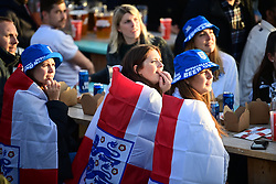 © Licensed to London News Pictures. 22/06/2021. London, UK. England fans react during the Euro 2020 group game between Czech Republic and England at Skylight Rooftop in Tobacco Dock, east London. Photo credit: Ben Cawthra/LNP