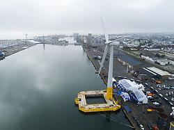 Aerial photo of the floating wind turbine Floatgen ID1 in Saint-Nazaire, France on october 13, 2017. Photo by Joncheray /ANDBZ/ABACAPRESS.COM