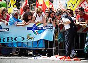 Stefano Fassina durante la manifestazione contro la riforma della scuola voluta dal governo, Roma 5 maggio 2015.  Christian Mantuano / OneShot <br /> <br /> Stefano Fassina during the demonstration against the school reform desired by the government, Roma 5 May 2015. Christian Mantuano / OneShot