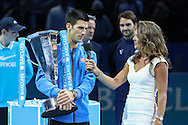 Novak Djokovic after winning the final of the ATP World Tour Finals between Roger Federer of Switzerland and Novak Djokovic at the O2 Arena, London, United Kingdom on 22 November 2015. Photo by Phil Duncan.