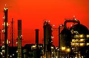 Oil refinary at dusk.