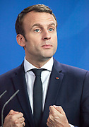 French President Emmanuel Macron is seen during a joint press conference with The German Chancellor Angela Merkel at the chancellery in Berlin, as part of Macron first official visit as President to Germany, on  Monday, May 15, 2017. (Photo by Omer Messinger)