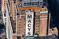 US, New York City. View from the Empire State Building observation deck. Macy's department store.