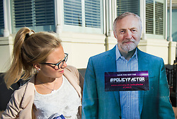 © Licensed to London News Pictures. 29/09/2015. Brighton, UK. A cardboard cutout of JEREMY CORBYN outside the entrance to the venue on  Day three of the 2015 Labour Party Conference, held at the Brighton Centre in Brighton, East Sussex. This years conference takes place just weeks after Jeremy Corbyn was elected leader of the party. Photo credit: Ben Cawthra/LNP