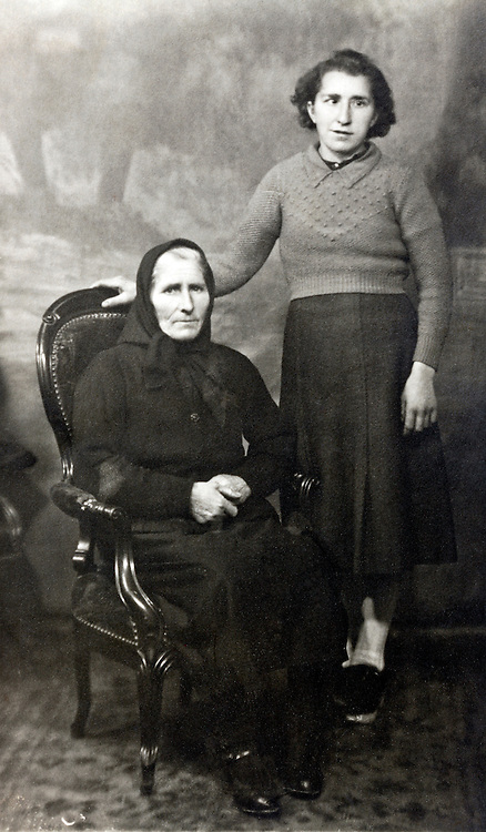 vintage studio portrait of two women