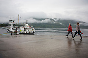 The Corran Ferry that crosses on wintry evening on Inverscaddle Bay, Ardgour, Scotland.
