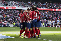 March 9, 2019 - Madrid, Madrid, Spain - Atletico de Madrid's players celebrate goal during La Liga match between Atletico de Madrid and CD Leganes at Wanda Metropolitano stadium in Madrid. (Credit Image: © Legan P. Mace/SOPA Images via ZUMA Wire)