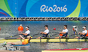 "Rio de Janeiro. BRAZIL.   GBR M4X. Bow. Jack BEAUMONT,  Sam TOWNSEND, Angus GROOM and Peter LAMBERT,  2016 Olympic Rowing Regatta. Lagoa Stadium, Copacabana,  ""Olympic Summer Games""Rodrigo de Freitas Lagoon, Lagoa. Local Time 12:53:30   Saturday  06/08/2016 <br /> <br /> [Mandatory Credit; Peter SPURRIER/Intersport Images]"