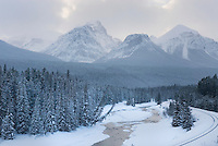 The Bow River and Peaks of the Bow Range, Banff National Park Alberta Canada