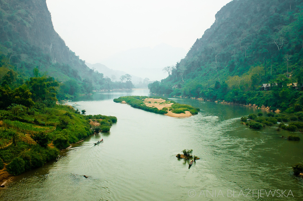 Laos, Nong Khiaw. Nam Ou, one of the most beautiful rivers in Laos.