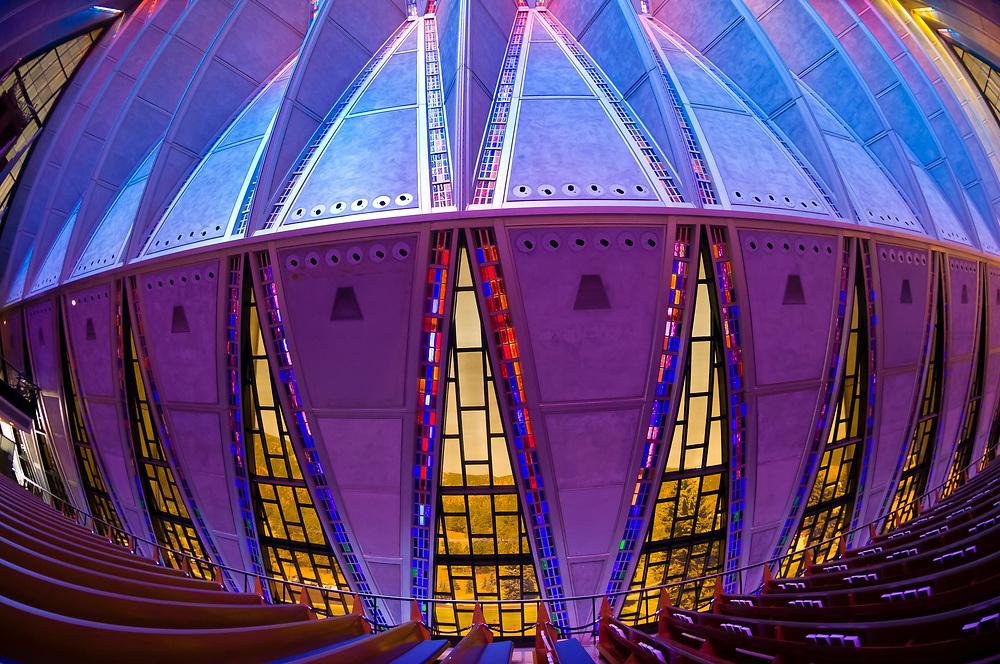 Protestant chapel of the Cadet Chapel, Air Force Academy, near Colorado Springs, Colorado USA
