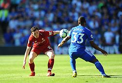 Andrew Robertson of Liverpool competes with Junior Hoilett of Cardiff City- Mandatory by-line: Nizaam Jones/JMP - 21/04/2019 -  FOOTBALL - Cardiff City Stadium - Cardiff, Wales -  Cardiff City v Liverpool - Premier League