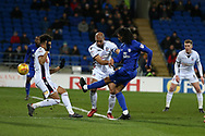 Armand Traore of Cardiff city shoots and  scores his teams 1st goal. EFL Skybet championship match, Cardiff city v Bolton Wanderers at the Cardiff city Stadium in Cardiff, South Wales on Tuesday 13th February 2018.<br /> pic by Andrew Orchard, Andrew Orchard sports photography.