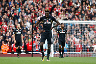 Tammy Abraham of Swansea City looks dejected after Swansea concede a second goal. Premier league match, Arsenal v Swansea city at the Emirates Stadium in London on Saturday 28th October 2017.<br /> pic by Steffan Bowen, Andrew Orchard sports photography.