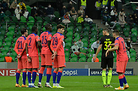 KRASNODAR, RUSSIA - OCTOBER 28: The Chelsea wall with Ben Chilwell Antonio Rüdiger Kurt Zouma & Kai Havertez prepare for the free kick during the UEFA Champions League Group E stage match between FC Krasnodar and Chelsea FC at Krasnodar Stadium on October 28, 2020 in Krasnodar, Russia. (Photo by MB Media)