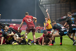 March 23, 2019 - Limerick, Ireland - Rhys Marshall of Munster scores a try during the Guinness PRO14 match between Munster Rugby and Zebre at Thomond Park Stadium in Limerick, Ireland on March 23, 2019  (Credit Image: © Andrew Surma/NurPhoto via ZUMA Press)
